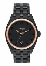 NIB Nixon Monopoly Stainless Steel Watch 40 MM Black Rose Gold A325-957-00