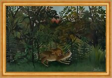 The Hungry Lion Attacking An Antelope Henri Rousseau Jagen Löwe Tier B A3 02248
