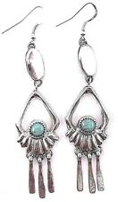 In Sterling Silver- E. Platero Navajo Handmade Kingman Turquoise Earrings Set