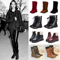 Women Lace Up Martin Boots Winter Warm Flat Sole Ankle Comfy Casual Combat Shoes