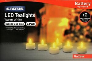Hallein LED TeaLights Candles Battery Operated Flickering Flame Effect WarmWhite