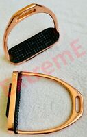 GLOSS ROSEGOLD FILLIS  STIRRUPS HORSE RIDING S/STEEL WITH BLACK TREAD BY ExtremE