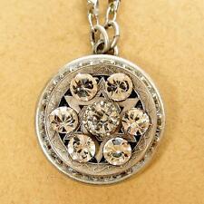 Michal Golan Medium Silver Plated Crystal Star of David Circle Pendant Necklace