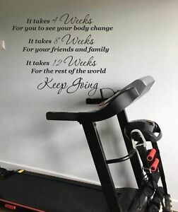 Gym Fitness Wall Art Sticker Keep Going Quote Home Gym Décor Motivational DIY