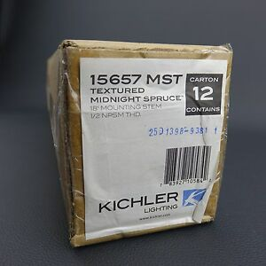 "Box Lot of 12  Kichler Stems Textured Midnight Spruce 18"" 1/2"" Stem 15657MST"