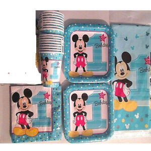 MICKEY MOUSE Fun To Be One 1st Birthday Party Supply Kit Pack for 16