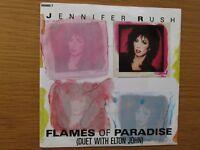 """JENNIFER RUSH ELTON JOHN Flames Of Paradise UK 7"""" VINYL SINGLE IN PICTURE SLEEVE"""
