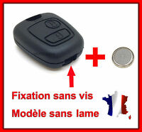 Coque de Clé Plip Pour Peugeot Partner Expert 406 Fixation SANS VIS + Pile