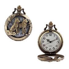 Wolf Antique Quartz Pocket Necklace Pendant Watch Brozne Vintage Steampunk LUK