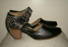 L'artiste Toolie B Shoe Black Leather/Tooled Print Mary Jane Sz.39 US 8.5