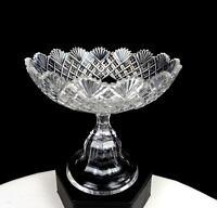 "ABP BRILLIANT PERIOD CUT CRYSTAL STRAWBERRY DIAMOND & FAN 4 5/8"" COMPOTE 1890-"