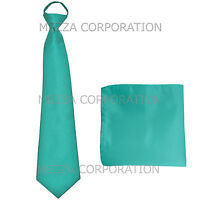 New formal men's pre-tied ready knot necktie & hankie polyester turquoise blue