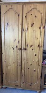 Pine Wardrobe 2 Door, 1 Shelf With Bun Feet