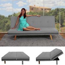 3er-Sofa Ninove, Couch Schlafsofa Gästebett Bettsofa, Textil hellgrau