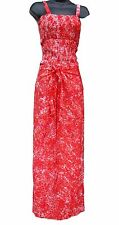 Red & White Tie Dye Wrap Pants with Shirred Top Comfortable One-Size