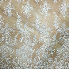 Floral Boda Tela Encaje 119cm Blanco Crudo Bordado de Boda Tela Encaje 0.5 Meter