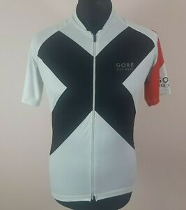 Gore Bike Wear Full-Zip Cycling Jersey Men's Size L Short Sleeve White Bike Top