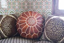 Moroccan Pouf Ottoman Boho Leather Handmade Footstool Unstufed Poof 100% Genuine