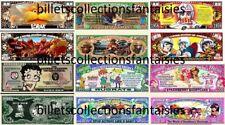 LOT de 6 Billets différents : DESSINS ANIMES  # 9 .  Commémoration / Collection