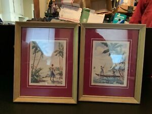 Vintage Mid Century Coral Island Print Framed A Pair
