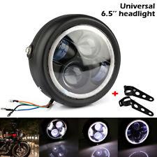 "6.5"" Motorcycle LED Headlight Hi/Lo Beam + Brackets For Harley Cafe Racer"