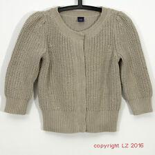 P740/02 Gap Women's 100% Cotton Beige Cropped Casual Cardigan, UK 10, Euro 38