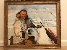 Vintage Oil Painting of Winter Polar Bear Hunt in Canada