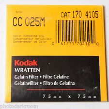 "Kodak Wratten No. CC 025M Gelatin Filter - 170 4105 - 75x75mm 3x3"" Square - NEW"