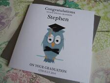 Handmade Personalised Graduation Wise Owl Card