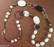 """Silpada Sterling Silver Pearl Copper Brass Shell 24"""" Long Necklace N1996 $136"""