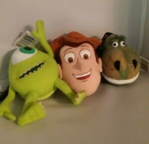 Lot of 3 Disney Pixar Plush Books Teachers Pets Key Chain Zip Up Book