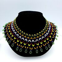 Vintage Multi Color Seed Bead Bib Collar Necklace Handmade Excellent