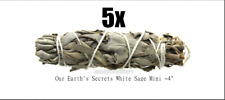 """5 x White Sage Smudge Stick / Wands: 4 to 5 """" House Cleansing Negativity Removal"""