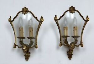 French Gilded Bronze Twin Light Sconces Wall Lights With Curvaceous Glass