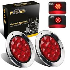 """2xRed 12LED Truck Trailer Stop Turn Tail Brake Lights 4"""" Round w/Stainless Rings"""