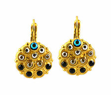 "Mariana ""Midnight in Paris"" Gold Plated Swarovski Crystal Peacock Drop Earrings"