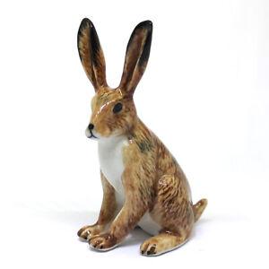 Hand Painted Miniature Collectible Ceramic Wild Brown Rabbit Figurine