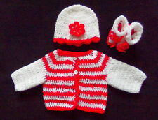 Handmade Crochet Red Baby or Reborn Doll Sweater Booties and Hat size preemie