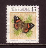 NEW ZEALAND....  1991  $5 butterfly used