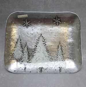 Formano Deko Teller Winterzeit silber Glitzer Schnee Tannenbaum Weihnachten