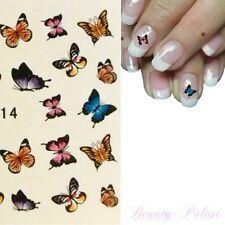 Nagelsticker Nailart Tattoo Wassertransfer Aufkleber Schmetterling Bunt XF1214
