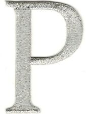 """1 1/2"""" x 2 1/4"""" Metallic Silver Monogram Wire Letter P embroidery patch"""