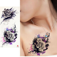 Sexy Watercolor Temporary Tattoo Sticker Purple Rose Flower Style For Women Arm
