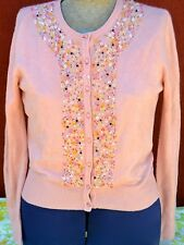 Women's Size M IDI by Mathew Coral Cardigan w/ Colorful Embellishments EUC