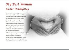 BEST WOMAN GIFT on my Wedding Day ( laminated gift) - personalised poem