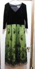 NWT COLDWATER CREEK Black Velvet Bodice w/Green & Black Mesh Skirt DRESS size 12