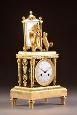 Beautiful French Empire ormolu mantel clock, Cupid and his dog in the mirror