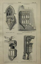 1850 ANTIQUE GOTHIC ARCHITECTURE PRINT ~ PULPIT BEAULIEU COOMBE MAGDALENE