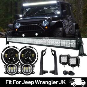 """52"""" 600W LED Light Bar+7"""" Headlight+4"""" Fog Lamp+Brackets for Jeep Wrangler JK"""