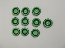 10 x Green Buttons with Black Band Detail Baby Buttons 15mm 2 Hole Buttons